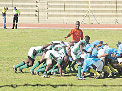Nigerian national  rugby team in action