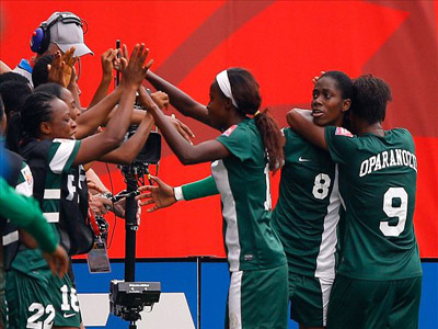 The Super Falcons celebrating one of their goals against Sweden...yesterday