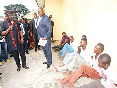 Okorocha  speaking to the suspects