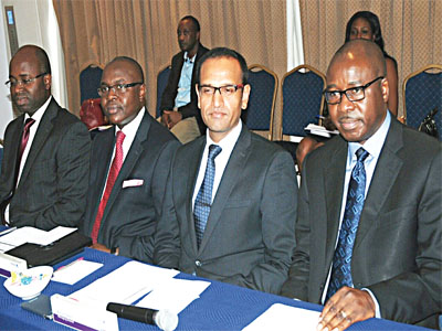 MD, WAPIC Life Assurance, Olaniyi Onifade (left); Executive Director, Retail, Olufemi Obaleke; Group Managing Director, Ashish Desai; and Deputy Group Managing Director, Bode Ojeniyi, all of WAPIC Insurance Plc, at the launch of the company's MOOV and Group Life insurance policies in Lagos, recently.