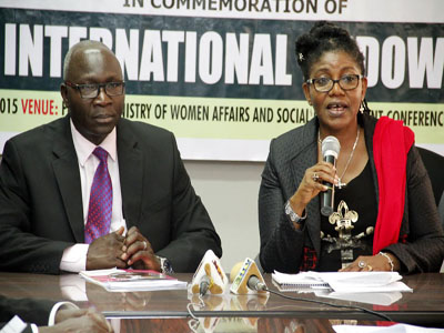 Permanent Secretary,Ministry of Women Affairs and Social Development,Dr.Ezekiel Oyemomi and Director,Women and Gender Affairs during a Press Briefing to Commemorate the International Widows day in Abuja today 23/06/15.Photo Ladidi Lucy Elukpo.