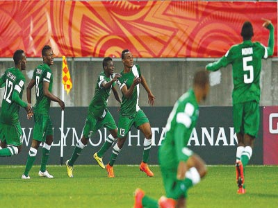 The Flying Eagles celebrating one of their goals against North Korea… yesterday.