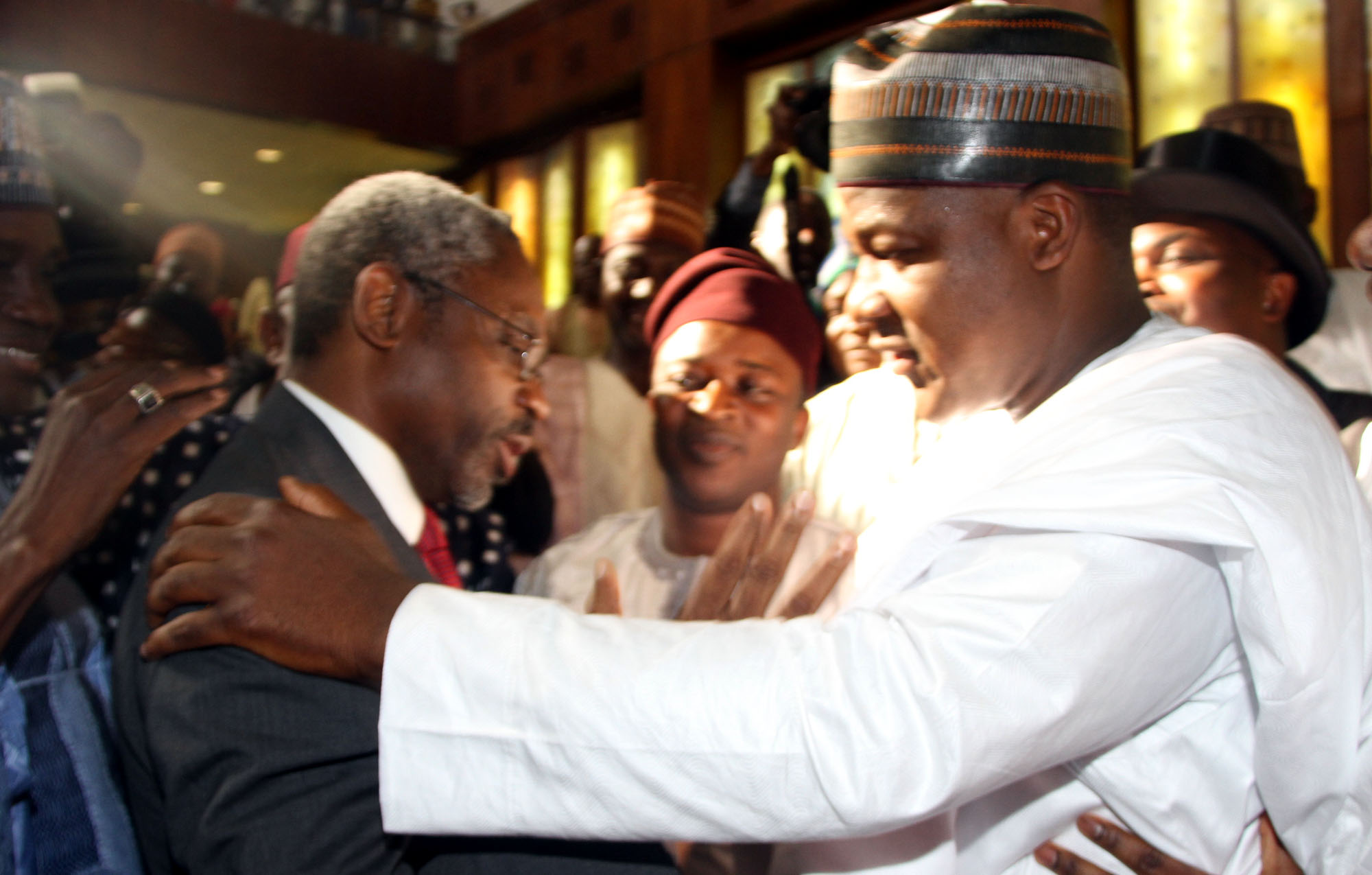 Speaker House of Representatives , Yakubu Dogara (right) being congratulated by his challenger ,Femi Gbajabiamila during the inauguration of the 8th National Assembly in Abuja PHOTO: Ladidi Lucy Elukpo.