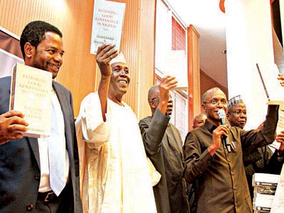 Former Secretary to the Government of the Federation(SGF)and Head of Service, Yayale Ahmed (right),Kaduna state governor, Mallam Nasir El-Rufai; former Head of Service, Steve Oronsaye, former Secretary to the Government of the Federation(SGF)Ambassador Baba Gana Kingibe and author, former Permanent Secretary  , Dr. Goke Adegoroye during the public presentation of the two-volume book ''Restoring Good Governance in Nigeria''in Abuja yesterday.        PHOTO:  LADIDI LUCY ELUKPO