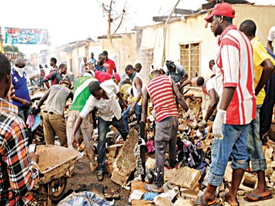 Scene of the explosion in Jos
