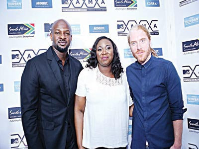 L-R: Senior Vice President, Viacom Africa, Alex Okosi; Senior Brand Manager, Premium, Pernod Ricard Nigeria, Adebola Williams and Head of MTVBase, Timo Horwood, during the Road To MAMAs 2015 event supported by Absolut Vodka at Federal Palace Hotel in Lagos