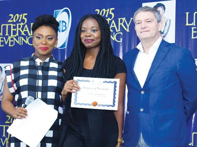 Lead facilitator, Creative Writing Workshop, Chimamanda Adichie; workshop participant, Emilomo Nwafor Ohiwerie and Managing Director/Chief Executive Officer, Nigerian Breweries Plc, Mr. Nicolaas Vervelde at the Literary Evening 2015 to mark the closing of the 7th edition of the workshop… in Lagos