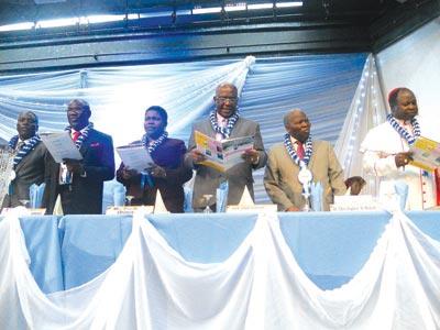 General Secretary, BSN, Dare Ajiboye (left), Rev. Olusegun Dada, Mrs. Cecilia Osipitan, Prof. Taiwo Osipitan, Christopher Kolade and Bishop Michael O. Akinwale at the event.