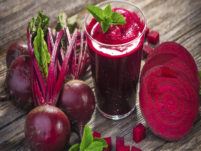 Beetroot juice... boosts people's performance in exercise after they drank it for two weeks... as well as beetroot, high concentrations of nitrate are also found in celery, cabbage and other leafy green   vegetables such as spinach and some lettuce.                                                                                                                                       PHOTO CREDIT: Huffingtonpost.co.uk
