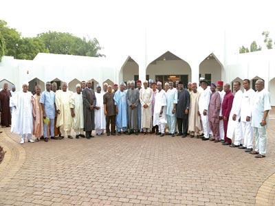 President Buhari with APC state chairmen... yesterday.