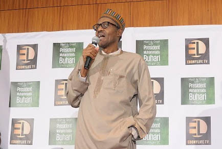 President Muhammadu Buhari speaking at the Ebonylife TV's Meet & Greet in Washington DC