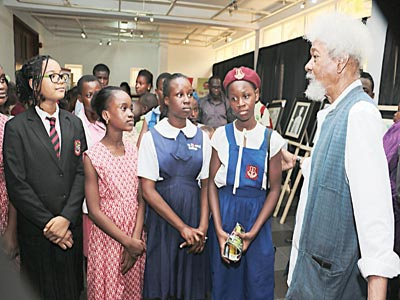 Festival Consultant Prof. Wole Soyinka with some of the students