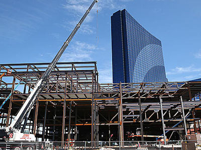 Construction crews work on the superstructure of the center. Friday September 12 2014 Construction on the Conference Center addition to Harrah's, Atlantic City. (The Press of Atlantic City / Ben Fogletto)