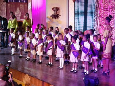 Pupils of De Beautiful Montessori, Magodo, Lagos, performing on MUSON stage during their graduation ceremony.