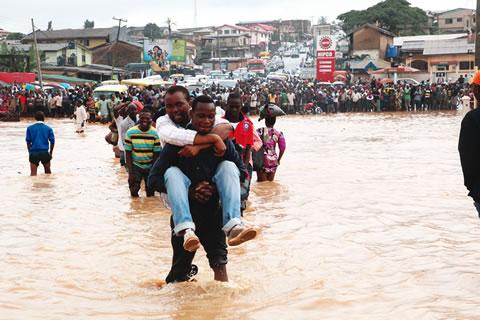 Scene of flood in Lagos
