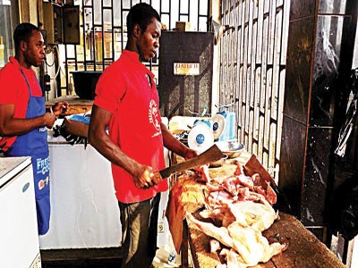 Frozen chicken sellers in their shops