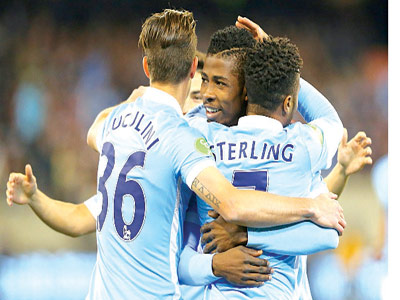 Kelechi Iheanacho mobbed by Raheem Sterling and Bruno Zuculini after scoring Manchester City's second goal in the friendly against Roma… on Tuesday.
