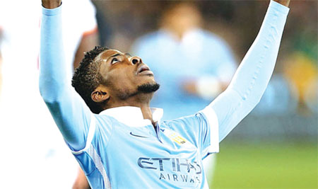 Nigeria and Man City striker, Kelechi Iheanacho, thanking God, after scoring City's second goal during an International Friendly game, which they won against Roma in Melbourne, Australia, yesterday