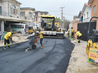 A Lagos road being repaired