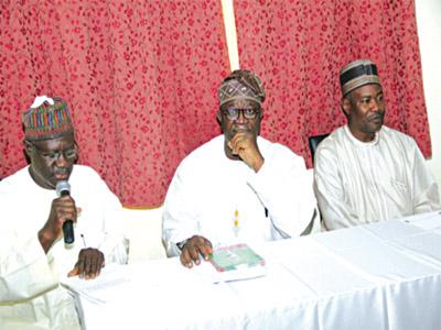 Mallam Usman Jimada (right); Mr. Femi Ayeni; and Prof. Umar Pate… at the workshop in Kaduna on Thursday