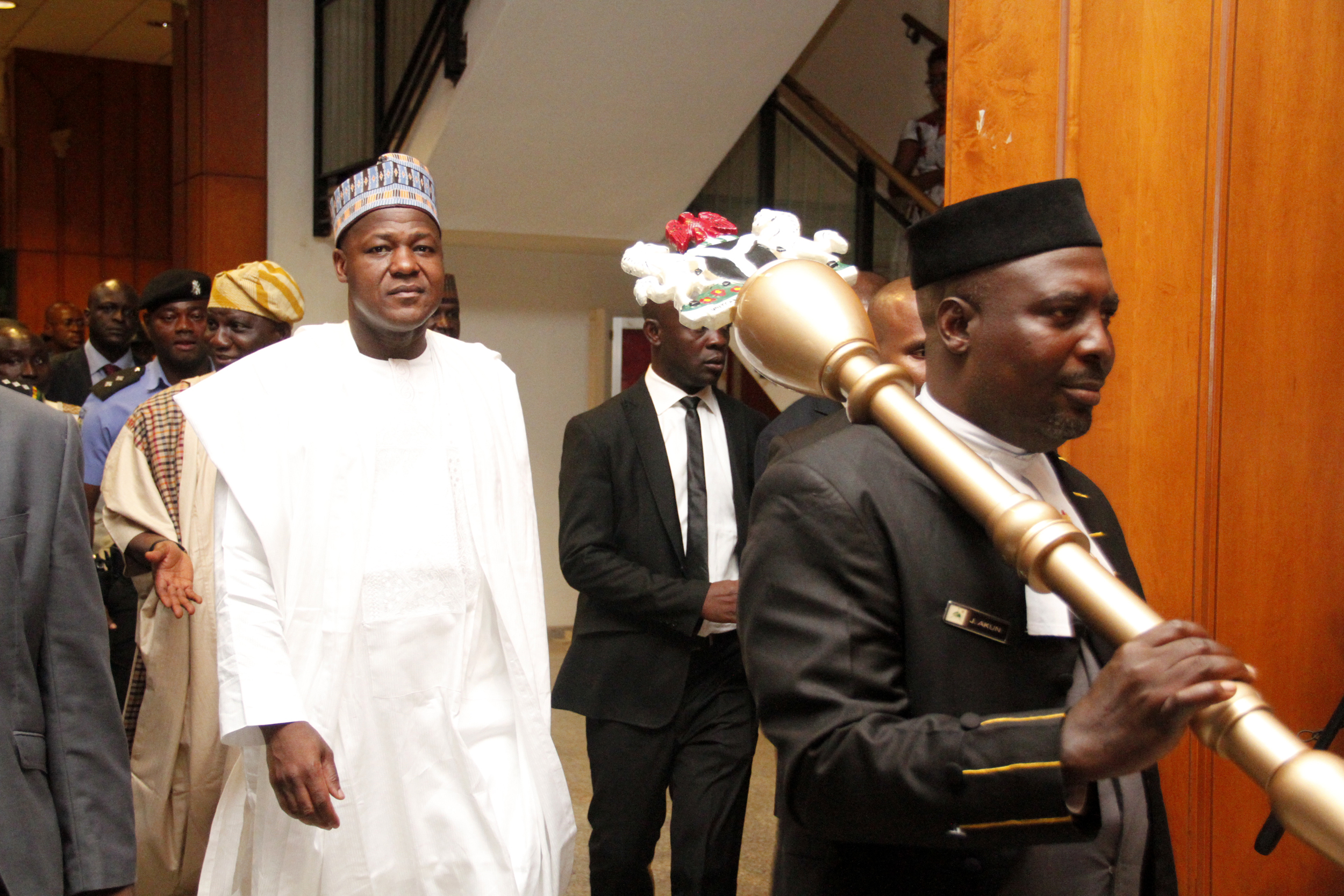 Speaker,House of Representatives,Honourable Yakubu Dogara coming out of the Chamber after a Peaceful  resolution during the Plenary session in the National assembly today 28/07/15.Photo Ladidi Lucy Elukpo.