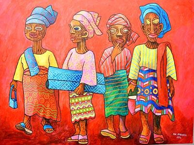A painting, Yoruba Women by Joe Amenechi.