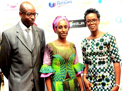 Special Guest, Dr. Lambert Shumbusho (left); Vice President's wife, Mrs. Dolapo Osinbajo and the Initiator, Project Smile, Dr. Amy Traore-Shumbusho at the event