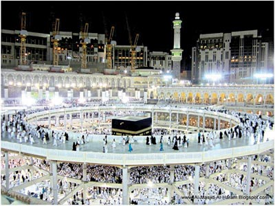 Haram… with the newly built oval bridge for pilgrims to observe tawaf
