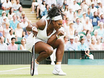 Serena Williams reacts after winning a set against Britain's Heather Watson during their women's singles third round match on Friday. Serena will meet her older sister, Venus, in a fourth round game… on Monday.  								                PHOTO: AF