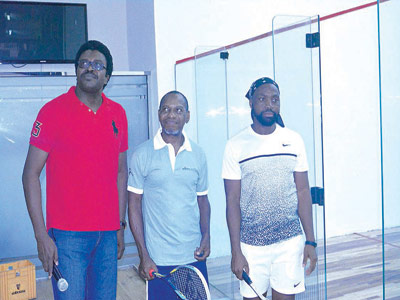 Lagos Country Club Squash Section chairman, Demola Olusunmade (left), Managing Director Cargolux, Capt. Shina Akinfenwa and Cyril Ayamere at the tourney.