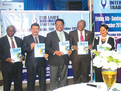 Senior officials of Lagos Chamber of Commerce and Industries displaying copies of the unveiled prospectus for 2015 Lagos International Trade Fair recently at Commerce House… in Lagaos