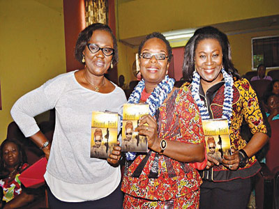 Author, Dr. (Mrs.) Anuli Mbadugha (middle) and two of her guests at the recent public presentation of her collection of short stories Beyond the Trial... in Lagos