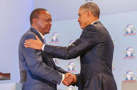 Kenyan President Uhuru Kenyatta with Obama PHOTO: capitalfm.co.ke
