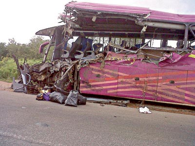 The luxury bus after the accident