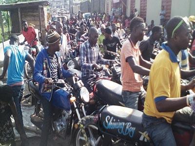 Okada riders waiting for passengers at Ajao Estate PHOTO: IKECHUKWU ONYEWUCH