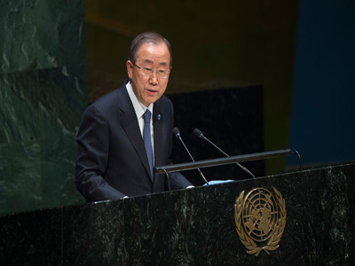 Bank Ki-moon briefs the General Assembly. PHOTO:www.un.org