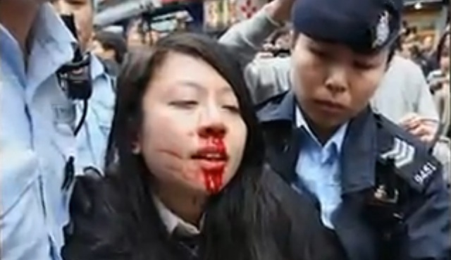 Ng Lai-ying was arrested during an anti-parallel trading protest in Yuen long. Photo: Apple Daily