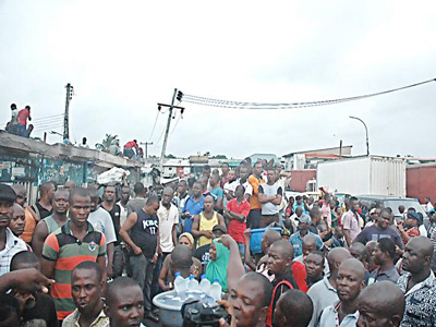 Auto spare parts traders in shock as the market was shut yesterday         PHOTO: CHARLES OKOLO