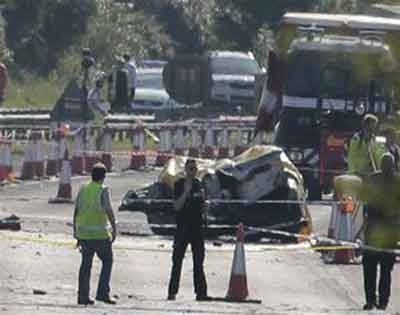 Police say 7 dead after jet in UK airshow crashes into road. Photo credit bloximages