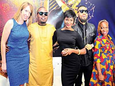Portfolio Marketing Manager, Guinness, Liz Ashdown; Made of Black Ambassadors, Olamide, Eva and Phyno and Brand Manager, Guinness, Chukwunonso Ndukwe, at the celebration of the Guinness Made of Black Ambassadors in Lagos