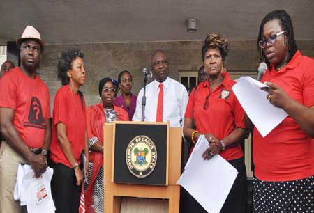 The Lagos State Governor, Mr. Akinwunmi Ambode receives 'Bring Back Our Girls' Group at Lagos House, Ikeja.