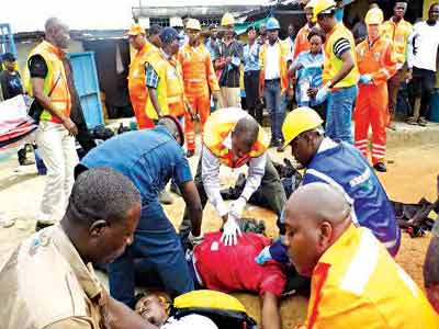 NEMA officials conducting resuscitation exercise on the survivors