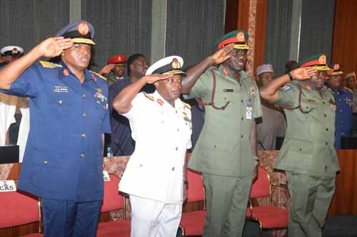 Chief of Air Staff; Air Marshal Sadique Abubakar; Chief of Naval Staff; Vice Marshal Ibok-Ete Ekwe Ibas; Chief of Army Staff; Lt. General Tukur Yusufu Buratai and Chief of Defence Staff; General Abayomi Gabriel Olonisakin; during their decoration Ceremony, by the President Mhammadu Buhari, held at the Presidential Villa Abuja yesterday