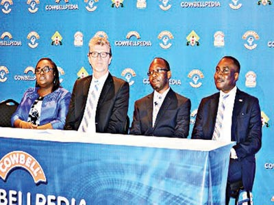 CEO, JustMedia Limited, Mrs. Funmilayo Oladapo-Ojo; Managing Director, Promasidor Nigeria Limited, Mr. Olivier Thiry; Head, Marketing, Promasidor, Mr. Festus Tettey; and Head, Legal/Public Relations, Promasidor, Mr. Andrew Enahoro at the media briefing held on Cowbellpedia in Lagos last week.