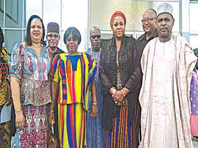Some heads of agencies under Culture and Tourism Ministry: Dayo Keshi of NCAC (left); Permanent Secretary of the ministry, Nkechi Ejele; Chika Balogun of NIHOTOUR; Director of Culture, George Ufot; and Usman Abdallah Yusuf of NCMM...  at SONTA Conference