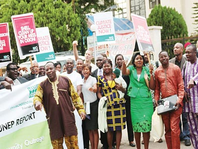 The Executive Director, Environmental Rights Action/Friends of the Earth Nigeria (ERA/FOEN) Godwin Ojo leading a protest after a stakeholders' workshop on the Non-Implementation of UNEP Report in Abuja, last week
