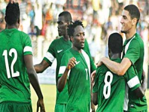 Members of the Super Eagles celebrating one of their goals against Chad in an African Nations Cup qualifier. The team will meet Tanzania in their second game of the qualifying series… next month.