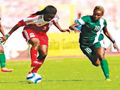 The Super Falcons during their ill-fated Rio 2016 Olympic Games qualifier against Equatorial Guinea in Bata. Nigeria lost 1-2 to miss the Rio 2016 games.