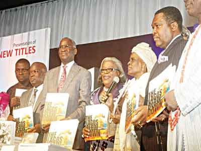 """Chairman of the event, Mr. Fola Adeola (left); former Governor of Lagos state, Babatunde Raji Fashola (SAN) and former Deputy Governor of Lagos state, Alhaja Lateefat Okunnu at the launch of three New titles: ''The Great Leap"""" ''In Bold Prints"""" and ''The Lagos Blow Down"""" edited by Hakeem Bello at MUSON Centre, Onikan, Lagos.                                                                                                       PHOTO: CHARLES OK"""