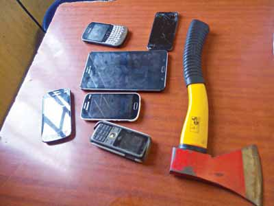 Phone and axe recovered